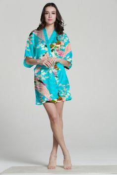 $20 - Pale Blue Robe Silk Women Robe Satin Kimono Robes Waffle Bathrobes Chenille Robe Satin Bathrobes Velour Bathrobe Short bathrobe bamboo robe  There were