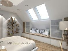 Low reading nook and side cupboards - Gisella P. Low reading nook and side cupboards - ideen wandgestaltung weiss Bedroom Furnishings, Loft Conversion, Attic Bedroom Designs, Attic Rooms, Home, Bedroom Cupboards, Bedroom Loft, Reading Nook, Room