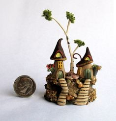 Handmade Miniature -  WHIMSY WOODLAND FAIRY GNOME HOUSES - by C. Rohal #CRohal