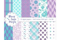 Purple & Turquoise digital papers by MarcyCoateDesigns on @creativemarket