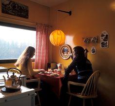 DigitaltMuseum - Kjøkken med spiseplads i liten leilighet på Rykkin, Bærum, Akershus. Nye Bonytt 1974-2.