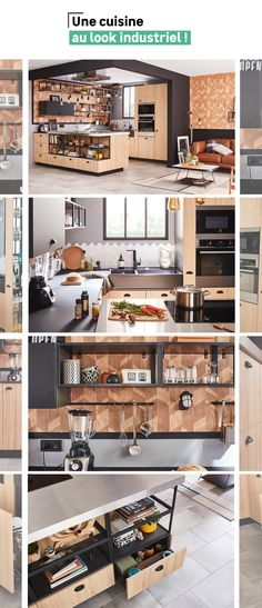 Discover an open kitchen with an industrial black and wood look. Interior Design Living Room, Living Room Designs, Living Room Decor, Small Space Interior Design, Family Kitchen, Cuisines Design, Open Kitchen, Kitchen Remodel, Architecture Design