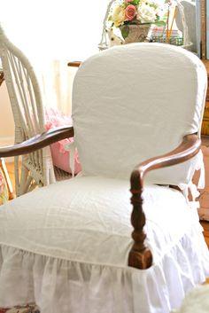 Custom Slipcovers by Shelley: Wood Arm Chair Slipcover