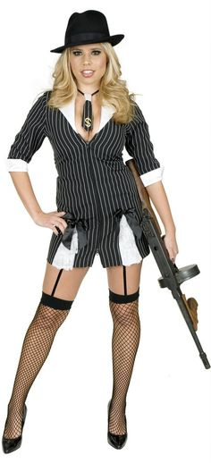 Plus Size Black/White Girly Gangster Moll Costume - Candy Apple Costumes - Sale