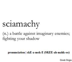 Sciamachy: a battle against imaginary enemies; fighting your shadow.