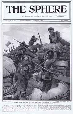 Pitching Sand Bags out of the trenches during an advance in 1915 (Print) art by The Sphere (Matania) at The Illustration Art Gallery