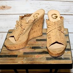 """G by Guess Tulcy Wedge Size 8 G by Guess wedge. Worn once. No flaws and in perfect condition. 4 1/2"""" cork heel, textile upper. G by Guess Shoes Wedges"""