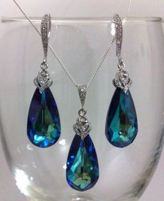 TIFFANY - Something Blue, Teal Peacock Bridal Earrings Necklace Set, Swarovski Teardrop Wedding Jewelry, AURA SET #jewelryset