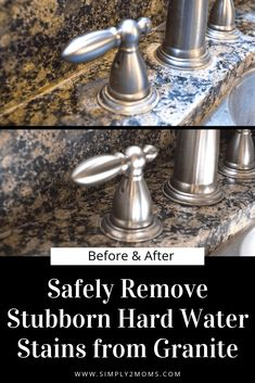 Want to remove those stubborn hard water stains from your granite counter tops? Our simple tutorial gets the job done without using any harsh chemicals. #simply2moms #granite #hardwaterstains #cleaningtips #hardwater #mineraldeposits #granite Deep Cleaning Tips, House Cleaning Tips, Car Cleaning, Cleaning Hacks, Cleaning Business, All You Need Is, How To Clean Granite, Clean Baking Pans, Cleaning Painted Walls