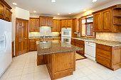 Dream Kitchen With Granite Counters, Hardwood Cabinetry, Custom Lighting
