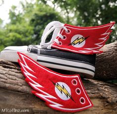 The Flash Lightning Bolt - Embroidered Shoe Wings - MTCoffinz by MTthreadz on Etsy https://www.etsy.com/listing/194330876/the-flash-lightning-bolt-embroidered