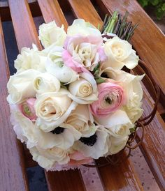 ranunclus and anemone bridal bouquet | Kathy's Bouquet - Bridal white roses, white and pink Ranunculus, pink ...