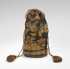 Bag (Pouch) Made Of Metal And Silk -European   c.1840