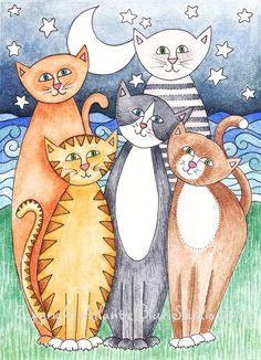 DesertRose///lovely Cat Art Print Kitten Pet Reproduction by AtlanticBlueStudio