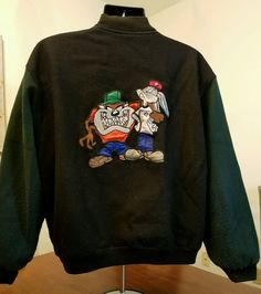 VTG 90s Varsity Coat Lined Looney Tunes 1992 Embroidered Approx L/XL USA Made #TopLineUSA #BasicJacket