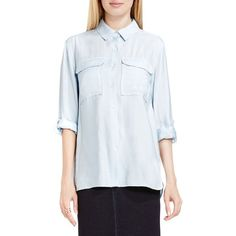 Women's Two By Vince Camuto Relaxed Plaid Utility Shirt (71 CAD) ❤ liked on Polyvore featuring tops, pearl blue, blue top, plaid shirts, blue plaid shirt, tartan shirt and grunge shirts