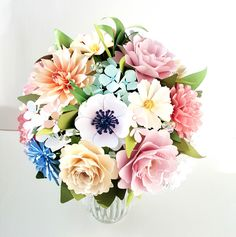 Paper Bouquet - Paper Flower Bouquet - Wedding Bouquet - Spring Morning - Pink - Blue - Ivory - Custom Made Spring Wedding Bouquets, Paper Flowers Wedding, Flower Bouquet Wedding, Bridesmaid Bouquet, Spring Weddings, Flower Bouquets, Ball Hairstyles, Alternative Bouquet, Paper Bouquet