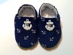 Nautical Baby Boy Shoes with Anchors by ShoesbySusie on Etsy, $22.00.   Given to me at my sprinkle!