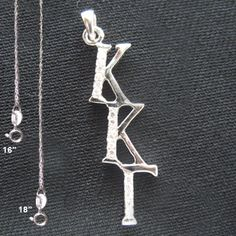 Kappa Kappa Gamma Sorority Diagonal Lavalier with Stones