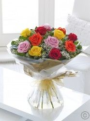 Featuring large-headed red roses, large-headed pink roses, large-headed yellow roses and large-headed orange roses hand-tied with gypsophila and salal leaves, and presented in Flowers.ie gift packaging. Order Flowers, Send Flowers, Wedding Flowers, Orange Roses, Pink Roses, Dublin, Cork, Valentine Day Gifts, Valentines