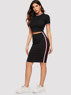 To find out about the Striped Tape Crop Tee & Bodycon Skirt Set at SHEIN, part of our latest Two-piece Outfits ready to shop online today! Cropped Cami, Cami Crop Top, Crop Tee, Midi Skirt Outfit, Skirt Outfits, Body Con Skirt, Young Models, Two Piece Outfit, Fashion News