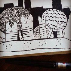 Urban cats illustration. Pentel pen brush.  Black. By #ronabars