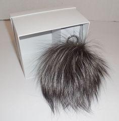MICHAEL KORS Large Fur Pom Pom Bag Charm Key Ring Black Silver New Keyring 39a593595