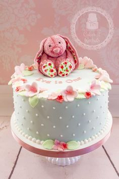 Vintage Pink Bunny cake, made for a 1st birthday - Cakes at Rachel's - find me on Facebook