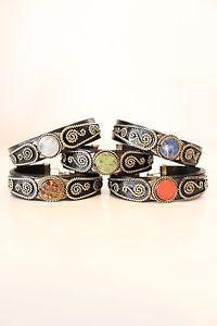 #Vtg #Western Style #Leather Stone Ethnic  #Boho #Bracelet