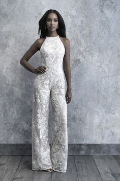 madison james 2019 bridal sleeveless halter neck full embellishment modern sophiscated jumpsuit wedding dress low keyhole back mv -- The 2019 Madison James Bridal Collection is A Modern Bride's Dream Wedding Reception Outfit, Wedding Attire, Pretty Wedding Dresses, Bridal Wedding Dresses, Lace Wedding, Dream Wedding, Wedding Rompers, Wedding Dress Necklines, Wedding Jumpsuit