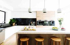 Interior in a Wooden Kitchen Lighting Melbourne — Home Furniture Ideas Family Kitchen, Kitchen Nook, Wooden Kitchen, New Kitchen, Kitchen Dining, Kitchen Decor, Kitchen Gallery, Kitchen Models, Kitchen Flooring