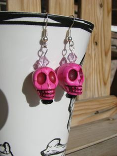 Pink Skull and Crystal Earrings by BeadToLive on Etsy, $14.00