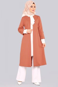 Dark Salmon Double Combine with Cardigan Tesettür Kaban Modelleri 2020 Abaya Fashion, Cardigan Fashion, Muslim Fashion, Hijab Elegante, Hijab Chic, Hijab Simple, Estilo Abaya, Beautiful Long Dresses, Mode Hijab