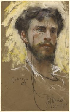 """Francesco Paolo Michetti (Italian, 1851-1929), Self-portrait, 1877. Pastel and bodycolour on brown paper. The J. Paul Getty Museum, Los Angeles """""""