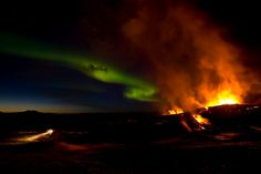 2010 Volcanic eruption of Eyjafjallajokull (ay-yah-FYAH'-plah-yer-kuh-duhl) volcano inIceland...oh, and aurora borealis!!