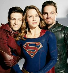 Four-way Crossover. Melissa Benoist - Supergirl, Grant Gustin - Flash, Stephen Amell - Green Arrow