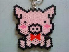 cerdito, perler beads pig, hama bead, perler beads crafts
