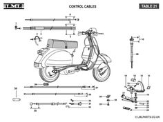 (21) CONTROL CABLES - Tasso LML Scooter Spare Parts