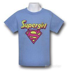 Images of Supergirl Kids Blue Logo T-Shirt