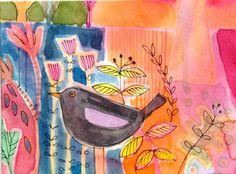Original Watercolour Painting ACEO - Blackbird - by Annabel Burton