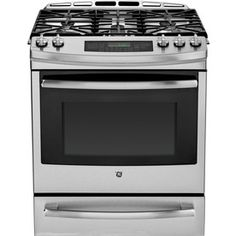 Ge Profile 5-Burner 5.6-Cu Ft Self-Cleaning Slide-In Convection Gas Range (Stainless Steel) (Common: 30-In; Actual 30-In