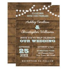 Barnwood Lights Aqua Wedding Invitation