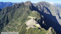Aerial view of Machu Picchu from Wayna Picchu mountain.