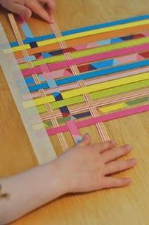 Paper Weaving with wallpaper.  Oh joy, this is a good idea to pare down my stacks of wallpaper books.  Tie in to Faith Ringgold?