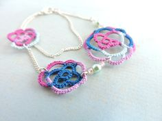 Raspberry Pink Wedgewood Blue and Country Turquoise Lace Roses Bracelet with Mint Czech Glass Pearls and Opaque Pink Beads - Silver Plated by PeekoCrafts Lace Jewelry, Jewellery, Handmade Envelopes, Mint Color, Lace Making, Glass Beads, Raspberry, Crochet Earrings, Czech Glass