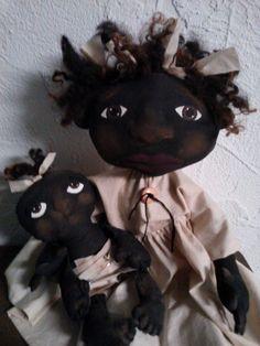 Primitive Folk Art Doll and Baby by primitivewishfuls on Etsy