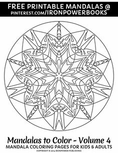 Free Printable Mandala Coloring Pages for Stress Relief or as Art Therapy. For more Easy Mandala Design please visit http://www.amazon.com/Mandalas-Color-Mandala-Coloring-Adults/dp/1496033418 for a paperback copy and enjoy 50 easy unique Mandala designs.   It will be awesome to share your colored works with us! Follow @ironpowerbooks for more free Coloring Pages!!   For Personal use Only  