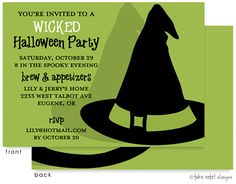 Bewitched WICKED Hat Invitation | Birth Announcements, Photo Cards and Invitations from Zurianas Elegant Occasions #Halloween