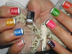 uñas de niñas - Buscar con Google Shoe Nails, Projects To Try, Cute, All Star, Tennis, Manicure, Google, Hair, Little Girl Nails