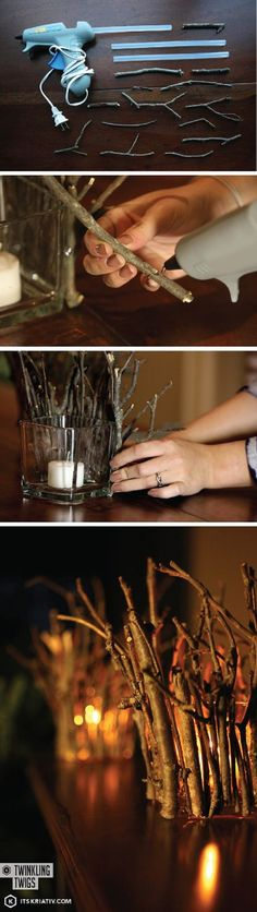 12 DIY Fall Decoration Tutorials - I so want to do this with white or silver painted twigs!!